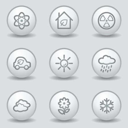 Ecology web icons set 2, circle white matt buttons Stock Vector - 23056919