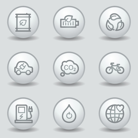 Ecology web icons set 4, circle white matt buttons Vector