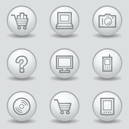 matt: Electronics web icons set 1, circle white matt buttons Illustration
