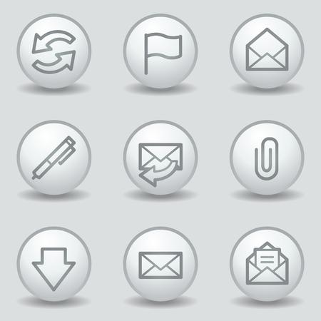 matt: E-mail web icons, circle white matt buttons