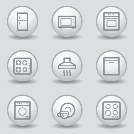 matt: Home appliances web icons, circle white matt buttons Illustration