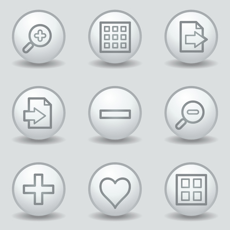 export import: Image viewer web icons set 1, circle white matt buttons