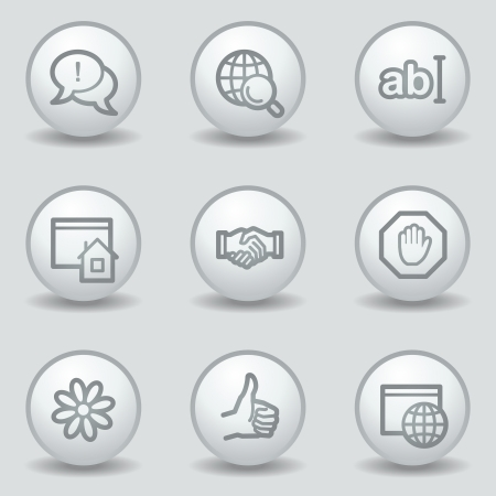 Internet  web icons set 1, circle white matt buttons Vector