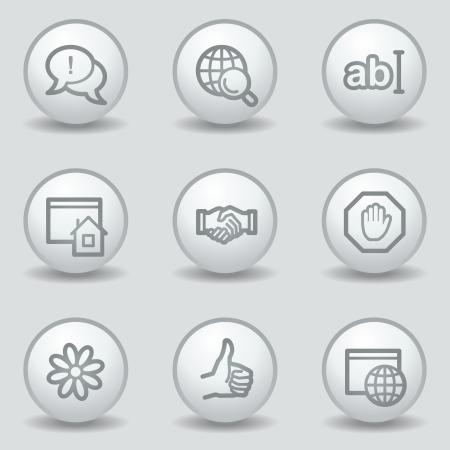 icq: Internet  web icons set 1, circle white matt buttons