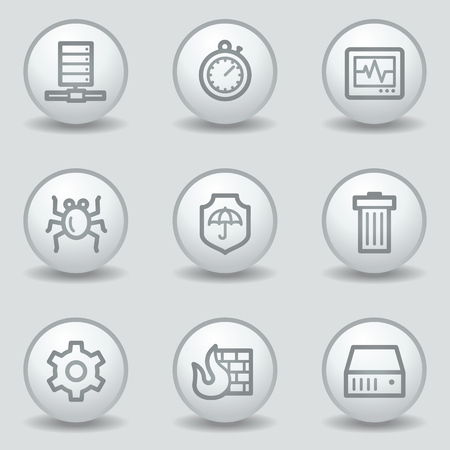 adware: Internet security web icons, circle white matt buttons Illustration