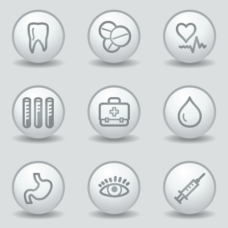 Medicine  web icons set 1, circle white matt buttons Stock Vector - 23056932