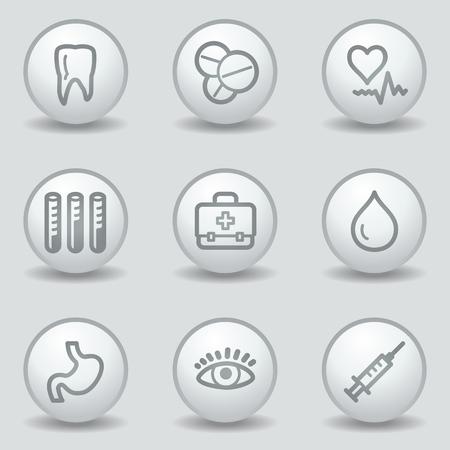 Medicine  web icons set 1, circle white matt buttons Stock Vector - 23056932