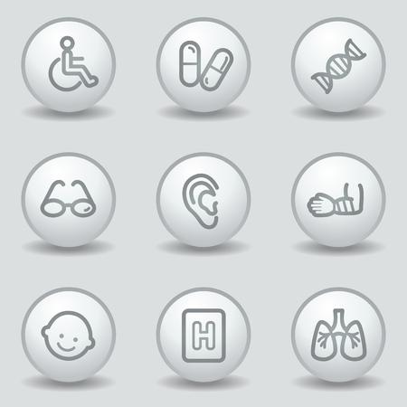 oculista: Iconos de web de medicina conjunto 2, botones de círculo blanco mate Vectores