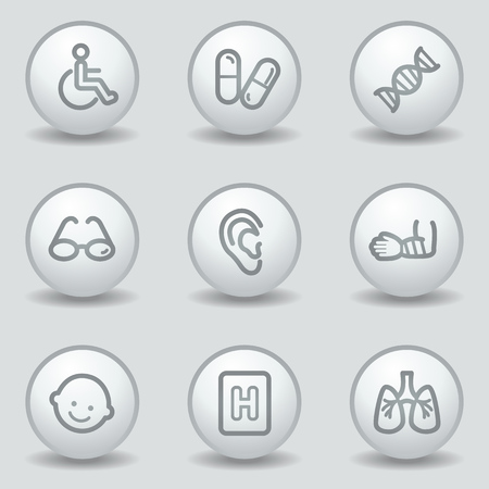 Medicine  web icons set 2, circle white matt buttons Vector