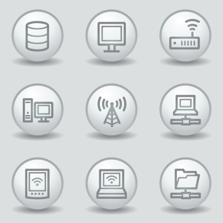 nettop: Network web icons , circle white matt buttons