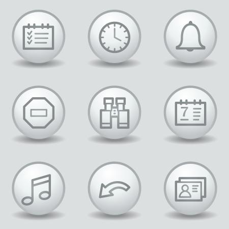 Organizer web icons , circle white matt buttons