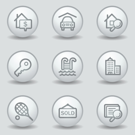 Real estate web icons, circle white matt buttons Stock Vector - 23057073