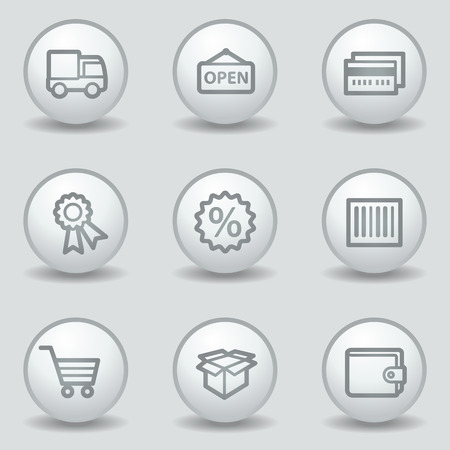 Shopping web icons set 2, circle white matt buttons Vector