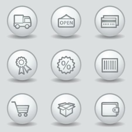 Shopping web icons set 2, circle white matt buttons Vector