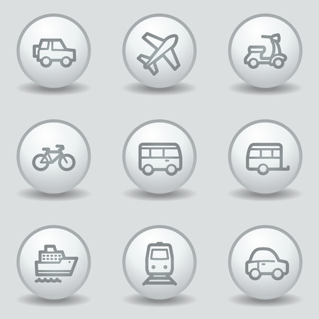 air liner: Transport web icons, circle white matt buttons Illustration