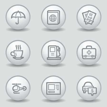 Travel web icons set 4, circle white matt buttons Vector