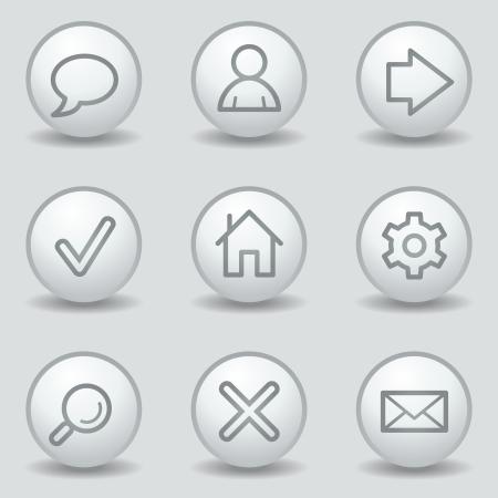 matt: Basic web icons, circle white matt buttons Illustration