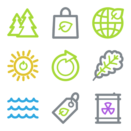 Ecology web icons, color line contour series Stock Vector - 23057087