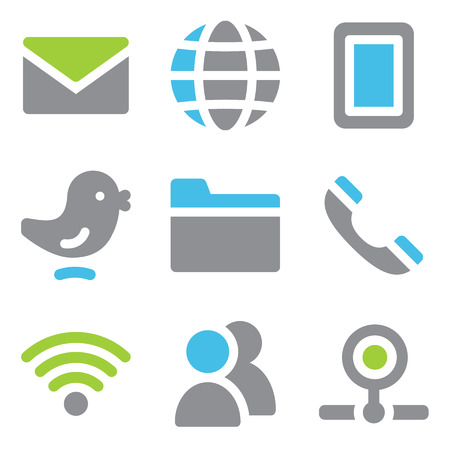 Communication web icons blue green series Vector