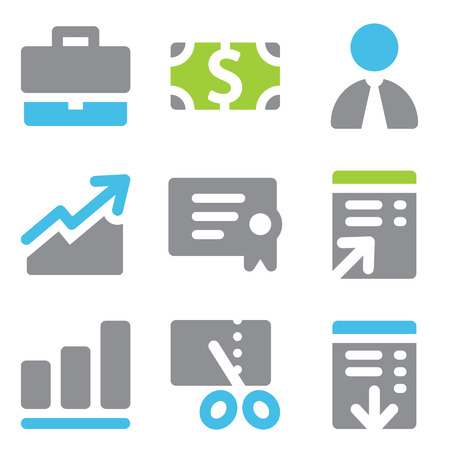 Finance web icons blue green series