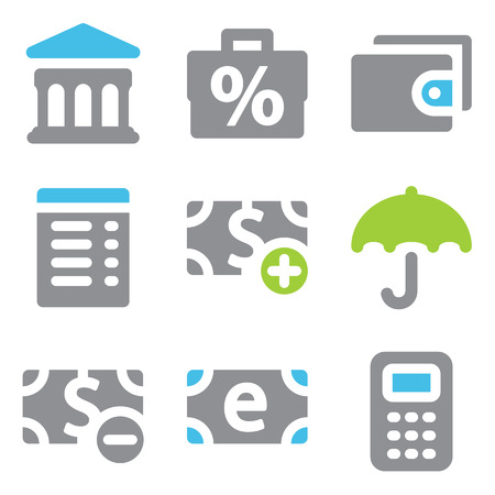 Finance web icons blue green series Vector