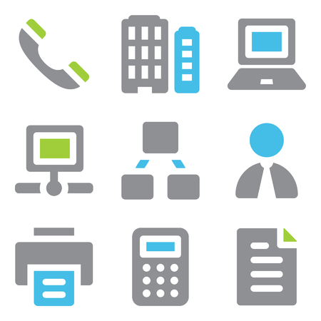 Office web icons blue green series Vector