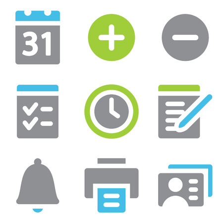Organizer web icons blue green series Vector