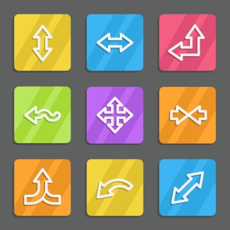 width: Arrows web icons set 2, color flat buttons