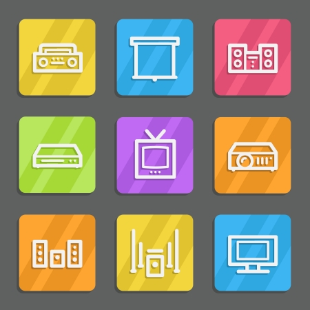 Audio video web icons, color flat buttons  Vector