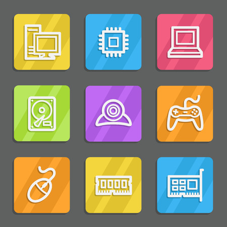 nettop: Computer web icons, color flat buttons