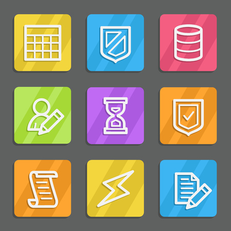 Database web icons, color flat buttons Vector