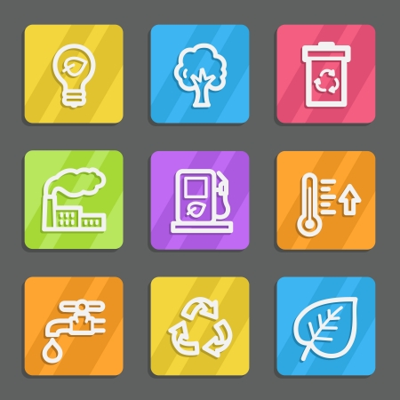 Ecology web icons set 1, color flat buttons Vector