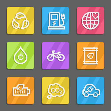 electro world: Ecology web icons set 4, color flat buttons Illustration