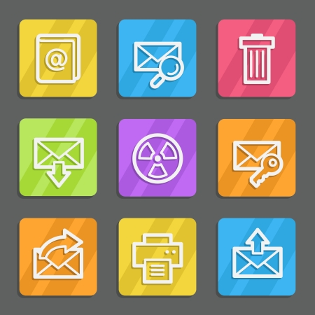 E-mail web icons set 2, color flat buttons Vector