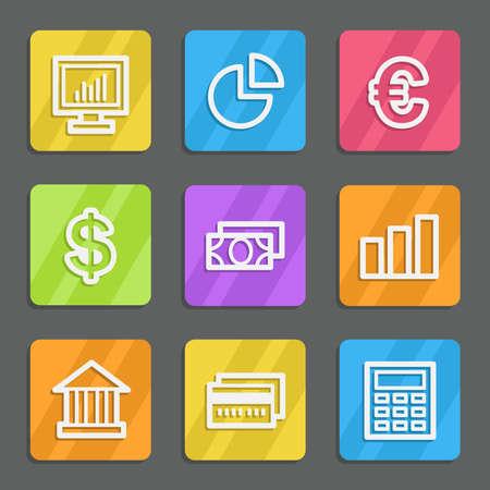 Finance web icons set 1, color flat buttons Vector