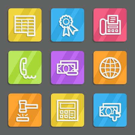 Finance web icons set 2, color flat buttons Vector