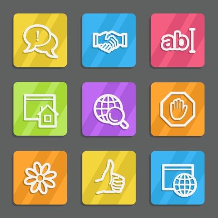 icq: Internet web icons set 1, color flat buttons Illustration