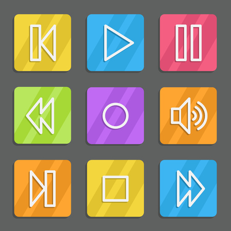 Media player web icons, color flat buttons Vector