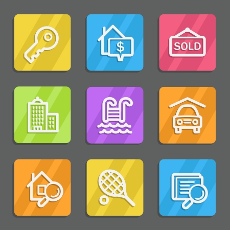 Real estate web icons, color flat buttons Vector