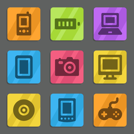 Electronics web icons color flat series Vector