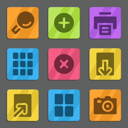 and viewer: Image viewer web icons color flat series Illustration