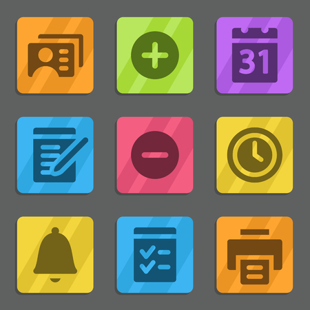 Organizer web icons color flat series Vector