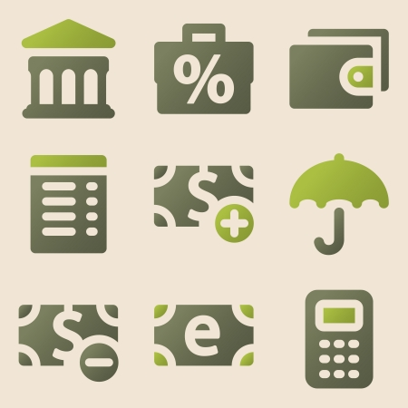 Finance web icons vintage color series Vector