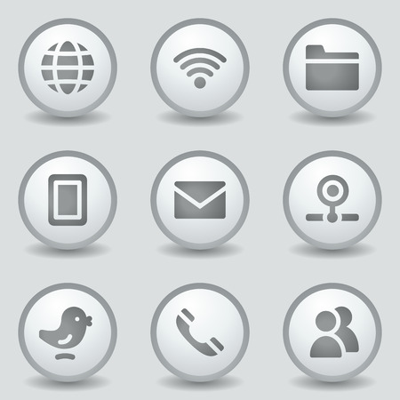 webcamera: Communication web icons, grey circle buttons