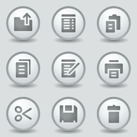 Document web icons, grey circle buttons Vector