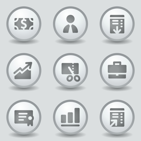 Finance web icons, grey circle buttons Illustration