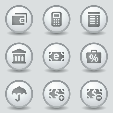 Finance web icons, grey circle buttons Vector