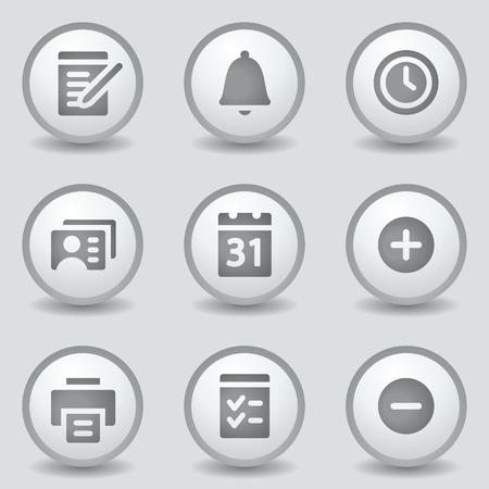 Organizer web icons, grey circle buttons Vector