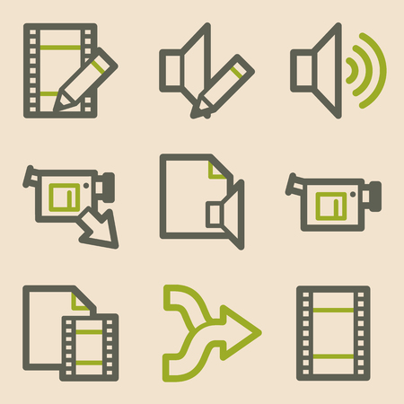 edit icon: Audio video edit web icons, vintage series