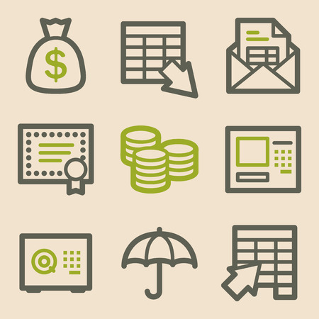 protect money: Banking web icons, vintage series